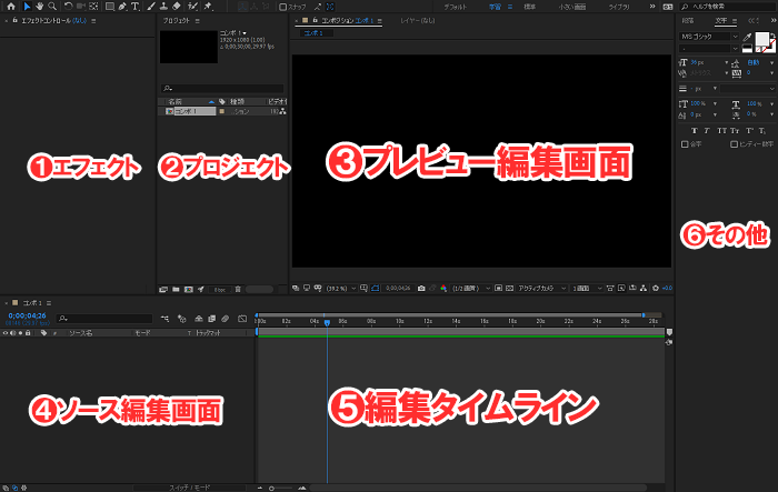 After Effects 画面構成